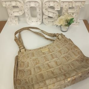 Brahmin gold ivory shoulder handbag embossed croco